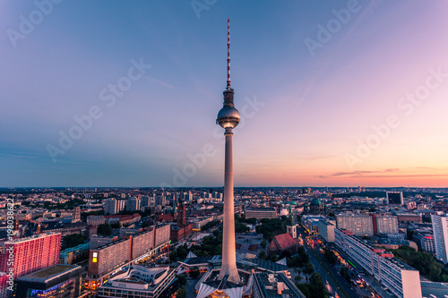 Fotobehang Berlijn Cityscape of downtown Berlin, Germany at sunset hour