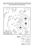Springtime themed connect the dots picture puzzle and coloring page with birds, birdhouses and nestlings. Answer included.