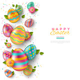 Easter vertical border with color eggs