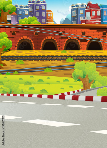 Fotobehang Bleke violet cartoon scene with street and some city in the background - illustration for children