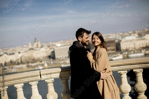 Couple in love hugging of the magnificent landscape view of Budapest, Hungary