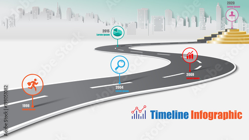 Business road map timeline infographic city milestone pathway to podium designed for modern diagram process technology digital marketing data presentation chart. Vector illustration - 198051082
