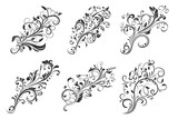 Floral decorative ornaments. Set of flower branches - 198053403