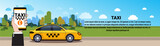 Mobile Taxi Service Hand Holding Smart Phone With Online Order App Over Yellow Cab Car On Road Horizontal Banner Flat Vector Illustration