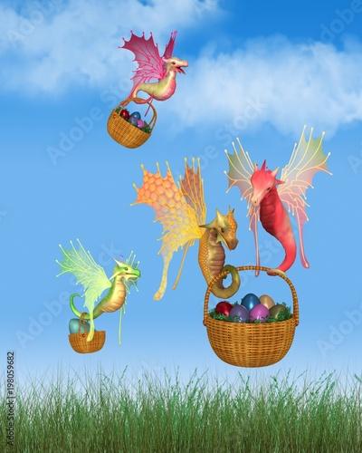 Cute Fairy Dragons Delivering Baskets of Easter Eggs - fantasy illustration - 198059682