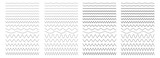 Set of wavy, zigzag, sinuous horizontal lines - 198061888