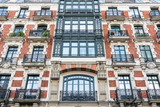 facade of Classical and elegant architecture buildings in Spain - 198068017