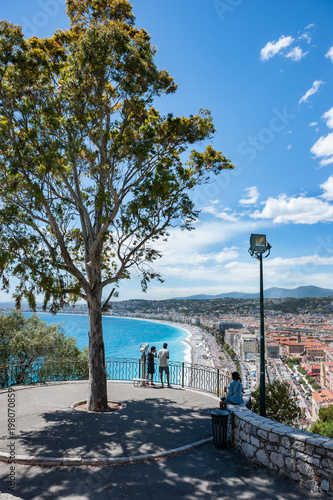 Foto op Plexiglas Nice Scenic view overlooking Mediterranean coastline city of Nice on the French riviera