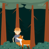 Boy in the forest cartoon