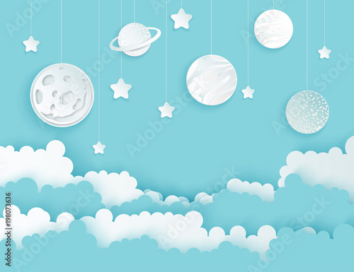 Fototapeta Modern paper art clouds, moon, planets, stars. Cute cartoon fluffy clouds. Pastel colors. Origami style