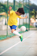 Soccer concept / Brazilian soccer player showing his skill with the ball