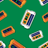 Vintage music cassette seamless pattern. Authentic design for digital and print media. - 198086824