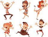 Party with happy cartoon people dancing.  - 198099068