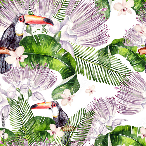 Beautiful watercolor seamless, tropical jungle floral pattern background with palm leaves, flower of roses, capers and  bird tukan.  - 198099407