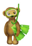 Cute teddybear with fins and swimming mask clipart white isolated