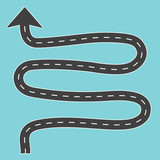 winding road with arrow- vector illustration