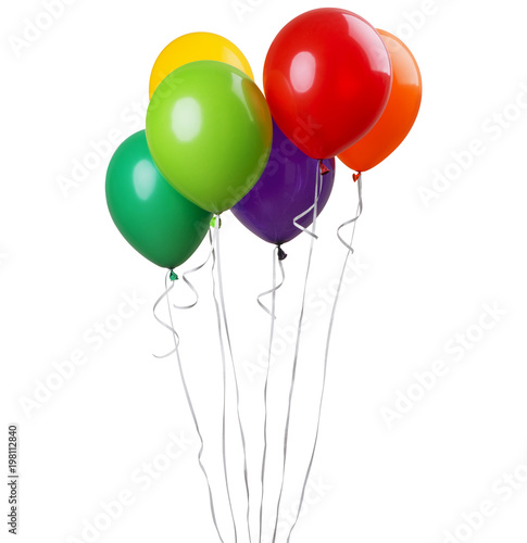 Six balloons isolated on a white background. Party decoration for celebrations and birthday