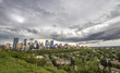 Panorama of the city of Calgary on a stormy summer day