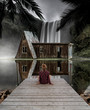 Quadro incredible scenary of a girl in front of a waterfall and a old house