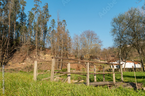 Foto op Canvas Herfst Pedestrian wooden bridge