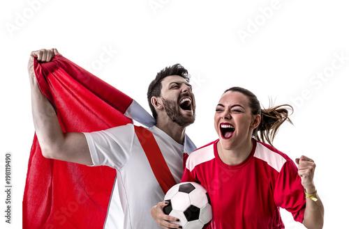 Peruvian fan celebrating