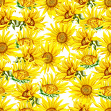 Seamless pattern with watercolor sunflowers