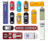Fototapety Cars and trucks top view isolated set. Commercial container truck, taxi cab, ambulance car, bus, freight lorry, tram, police car, fire engine, minibus, cabriolet, family hatchback vector illustration.