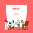 Creativity poster with artists painting and showing artworks. Student in art workshop, painter drawing on canvas. Art studio classes, artistic occupation concept, creative hobby vector illustration. - 198129416