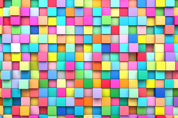 3D rendering abstract background of multi-colored cubes © afxhome