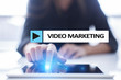 Video marketing, advertising concept on virtual screen.