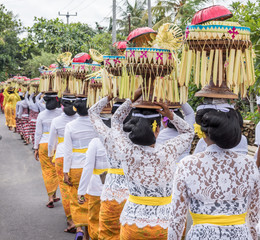 Balinese women in traditional costumes carry offerings to the temple for Hindu God on their heads, Bali, Indonesia