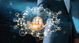 Businessman holding icon with ICO or Initial Coin Offering on interface virtual screen. Digital currency network concept - 198133088