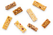 Granola bars for healthy nutritious breakfast. White background top view