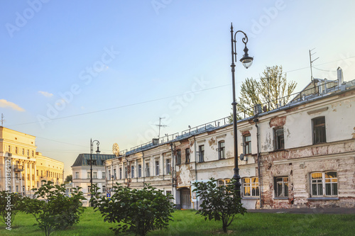 Architecture of Khitrovka district (near Khitrovskaya Square) in Moscow, Russia.
