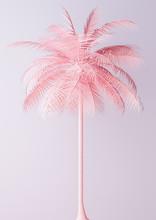 Unusual Pastel Pink Palm 3d Illustration Sticker