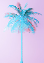 Unusual Blue Palm On Pink  3d Illustration Sticker