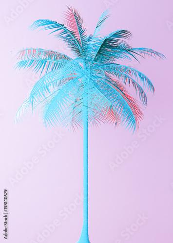 Niezwykła Błękitna palma Na Różowej tła 3d ilustraci