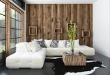 Modernes Wohnzimmer mit Couch und hölzerne Wand