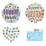 Summer beach and vacation Set of summer colored icons in the shape of a circle and heart, in a cartoon style doodle, completely handmade.