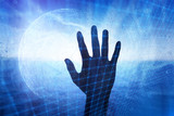 Artistic digital network screen with silhouette of a person hand. - 198148244