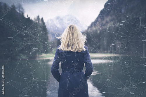Futuristic cyberspace network with woman, illustration background.