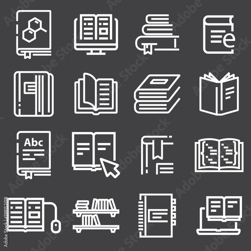 Simple set of books related vector icons - 198152018