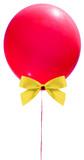ballon rouge et noeud papillon doré, fond blanc
