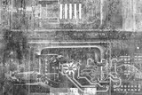Abstract grunge futuristic cyber technology background. Sci-fi circuit design. Blueprint on old grungy surface. Futuristic technology design. Cyber punk backdrop