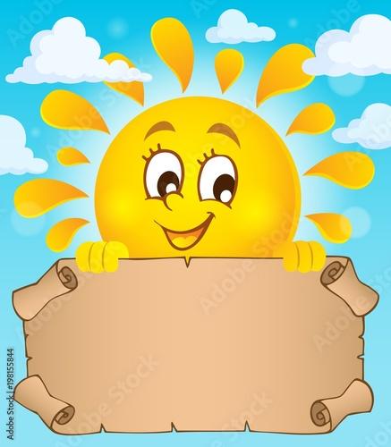 Poster Voor kinderen Happy sun holding parchment theme 1