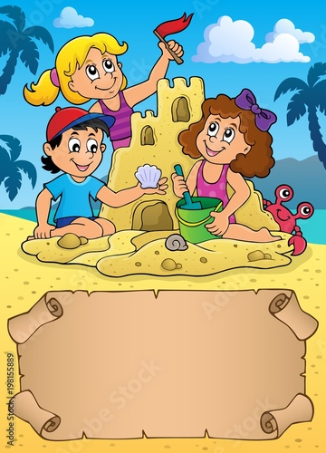 Poster Voor kinderen Small parchment and kids by sand castle