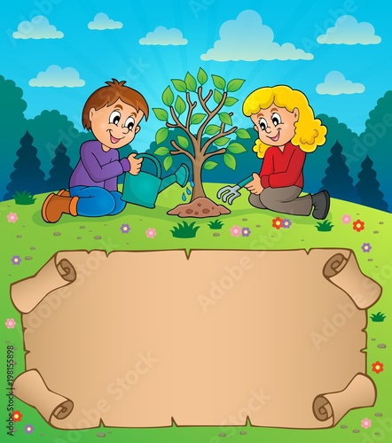 Poster Voor kinderen Small parchment and kids planting tree