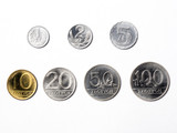 Old Polish coins on a white background