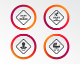 Baby on board icons. Infant caution signs. Child buggy carriage symbol. Infographic design buttons. Circle templates. Vector