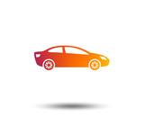 Car sign icon. Sedan saloon symbol. Transport. Blurred gradient design element. Vivid graphic flat icon. Vector